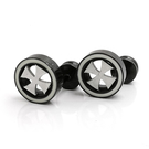 《QBOX 》FASHION 飾品【E19N924】精緻個性復古鏡面十字架黑色鈦鋼針式耳環