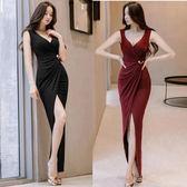 洋裝連身裙性感女裝修身包臀名媛開叉裙禮服裙長裙8645GT6F-606-B紅粉佳人