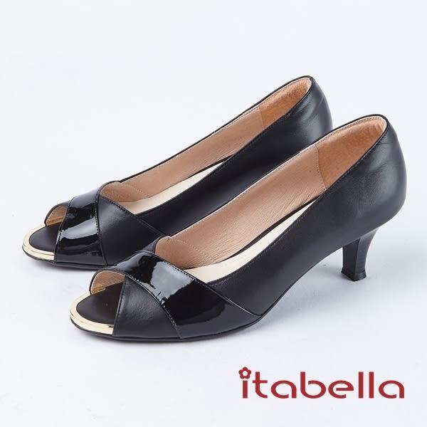 ★2018春夏新品★itabella.高雅氣質交叉拼接羊皮魚口高跟鞋(8229-91黑)