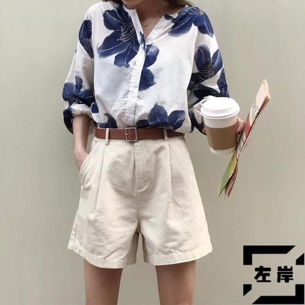 工裝短褲女夏韓版寬鬆百搭高腰5分休閒褲【左岸男裝】