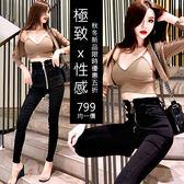 克妹Ke-Mei【AT54667】歐洲站金屬厚墊馬甲+外套+精工拉鍊緊身褲套裝