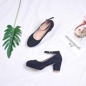 單鞋秋季新款韓版百搭粗跟高跟瑪麗珍少女仙女中跟小清新溫柔   可然精品