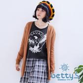 betty's貝蒂思 舒適毛料素色毛料針織衫(棕色)