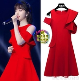 韓版時尚名媛氣質露肩白色無袖禮服洋裝女紅色荷邊葉禮服小黑裙 居家物語
