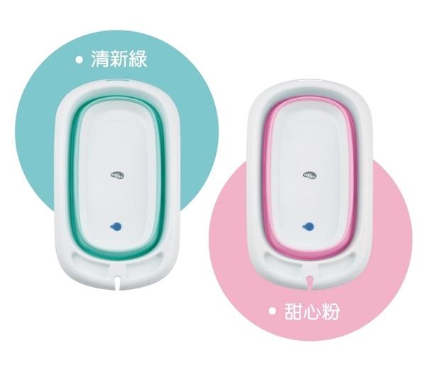 nac nac 2in1折疊式浴盆組(浴盆+浴網)(感溫)(清新綠/甜心粉)[衛立兒生活館]