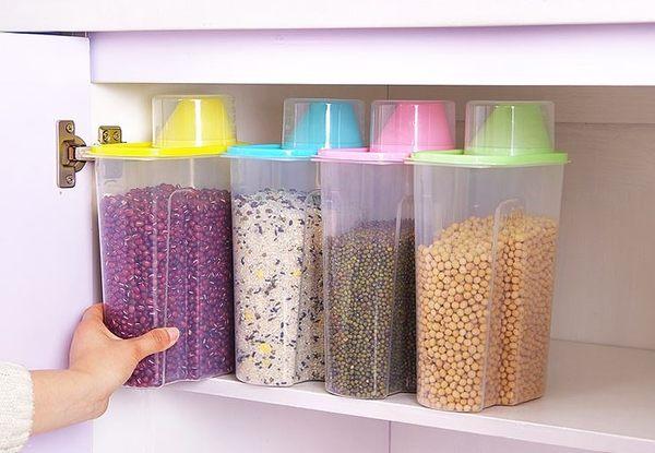 五穀雜糧儲物罐乾貨收納罐 塑料防潮密封罐廚房儲物盒2.5L   69元