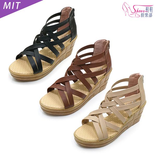 涼鞋.MIT交錯細帶羅馬楔型涼鞋.黑/棕/卡其【鞋鞋俱樂部】【028-7401】
