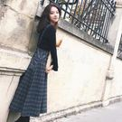 毛呢背帶裙女長款過膝氣質兩件套初秋冬季減齡連身裙新款套裝裙子   伊羅鞋包