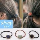【DJB0405】shiny藍格子-復古氣質小圓扣髮圈