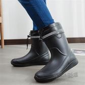 男士雨鞋中筒防滑防水時尚雨靴工作鞋洗車保暖水鞋釣魚膠鞋  『魔法鞋櫃』