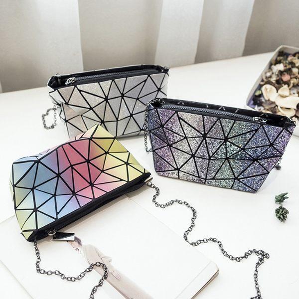 幾何圖閃亮三角彩虹包拉鍊小包
