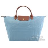 茱麗葉精品【全新現貨】Longchamp Le Pliage 折疊短揹帶肩提包.水藍 M #1623