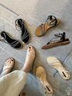 涼鞋女 涼鞋女仙女風2020新款夏季百搭時裝帶鉆41大碼羅馬鞋一字帶平底鞋【快速出貨】