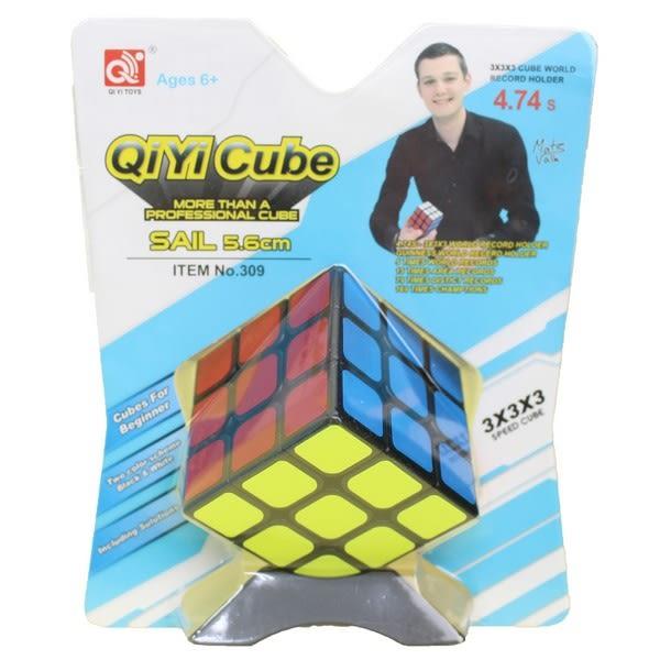 3x3 魔方格魔方(英文版) NO-309(黑底)/一個入(定100) 奇藝魔方 三階魔術方塊 SAIL比賽專用 3x3x3-首