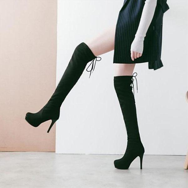 长靴—超高跟膝上靴女冬新款女鞋韓版套筒彈力靴綁帶防水台高筒靴 kore時尚記