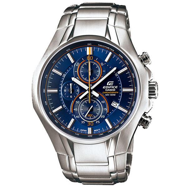 CASIO EDIFICE 雅緻科技三眼時尚運動錶(藍)
