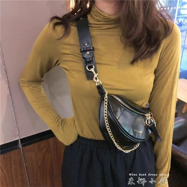 2021網紅新款褶皺腰包小香風菱格包圓環飾手提單肩包斜挎胸包包女 米娜小鋪