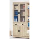 【森可家居】法克橡木2.6尺中抽書櫃 8SB236-2 玻璃書櫥 收納 木紋質感  無印北歐風 MIT台灣製造