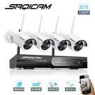 Saqicam 4路 無線主機錄影NVR WiFi攝影機 高清 1080P*4 監視器套餐 紅外夜視 網路監控 大廣角鏡