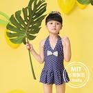 圓點荷葉邊女童連身泳裝泳衣(附帽)現貨台灣製造美國杜邦萊卡【36-66-G-8H20803-21】ibella 艾貝拉