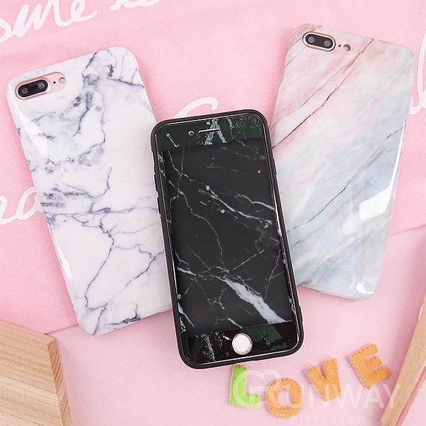 【R】大理石 石紋 亮面 殼+膜套組 蘋果 iPhone 8 plus 軟邊鋼化膜 全包邊軟殼