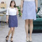 中大尺碼~氣質波點雪紡半身裙(XL~4XL)