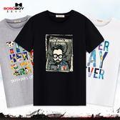【99免運】春夏新款男士短袖T恤圓領休閒大碼寬鬆青少年套頭純棉印花打底衫
