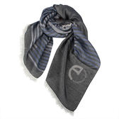 ARMANI COLLEZIONI條紋拼色絲薄圍巾(深灰藍)102802-1