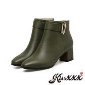 設計感小方釦經典純色造型短靴 綠 *KissXXX*