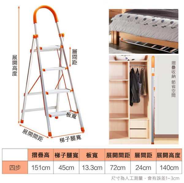 4步人字折疊梯子 4步梯 不鏽鋼 折疊梯 加厚鋼管 家用人字梯 移動樓梯 多功能扶梯 步梯【4G手機】