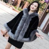 皮草外套女狐貍毛領兔毛毛披肩斗篷冬短款-BB奇趣屋