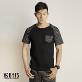 【BTIS】迷彩紋口袋拉克蘭 圓領T-shirt / 黑色