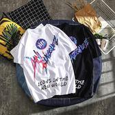 ins國潮嘻哈短袖男學生街舞字母印花情侶潮牌寬鬆純棉半袖大碼t恤 後街五號