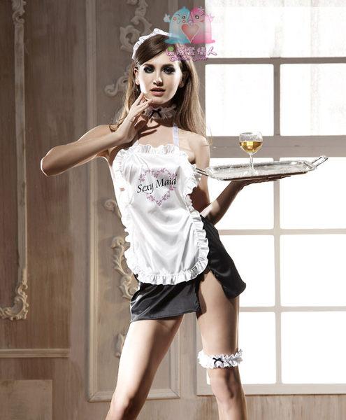 【愛愛雲端】性感內衣 性感睡衣 情趣 爆乳 透視 三點式 Sexy Maid女傭裝(五件組)
