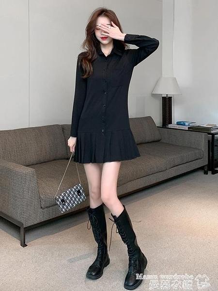 襯衫裙 百褶襯衫裙女秋冬設計感小眾打底連身裙氣質2021新款顯瘦小黑裙潮 曼慕