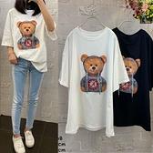 T恤 韓系春夏小熊短袖上衣 花漾小姐【預購】