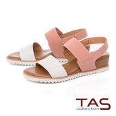 TAS 一字寬版繫帶素面牛皮內增高涼鞋–甜美粉