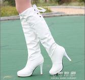 秋冬高筒女靴子白色高跟及膝靴皮靴防水台套筒馬丁靴長靴 可可鞋櫃