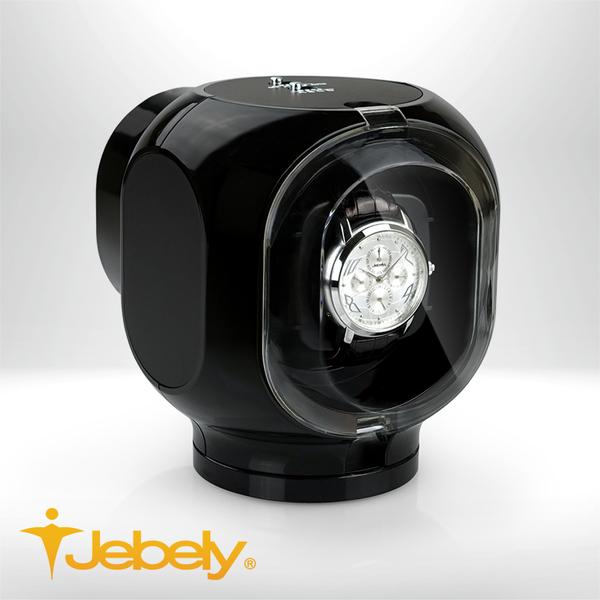 【Jebely】機械手錶自動上鍊盒 溫潤圓滑 JBW099 時尚黑 單手錶轉台 動力儲存錶機 台灣製