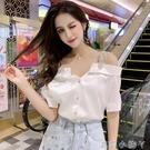 2021夏季新款襯衫女性感露肩設計感小眾寬松洋氣一字肩短袖上衣潮 蘿莉新品