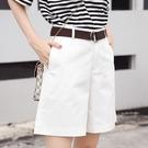 夏季新款韓版高腰顯瘦寬鬆寬管褲女休閒百搭五分西裝短褲熱褲「錢夫人小鋪」