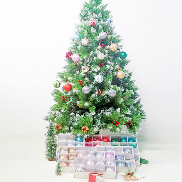 【BlueCat】聖誕節皺褶亮片盒裝聖誕球吊飾 聖誕樹裝飾 (12入裝)