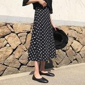 波點半身裙女新款寬鬆高腰a字裙休閒顯瘦中長款魚尾裙子 露露日記