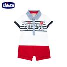 chicco-小熊船長-印條有領短袖套裝