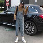 2019秋季新款韓版網紅牛仔背帶褲寬鬆顯瘦直筒褲泫雅老爹九分褲女
