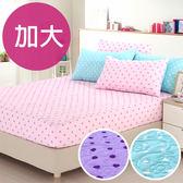 【精靈工廠】吸濕排汗點點3D立體舖棉壓花加大一件式床包(B0589)