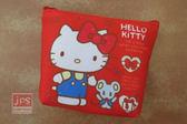 Hello Kitty 凱蒂貓 帆布零錢包 收納包 蝴蝶結 紅 KRT-669187