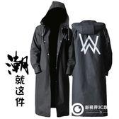 時尚黑色eva成人雨衣 可定制logo圖案 艾倫沃克圖案戶外男士長款632-278