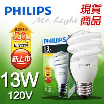 【有燈氏】PHILIPS 飛利浦 Tornado E27 13W 超亮 電子式 省電 燈泡 110V 120V 螺旋燈管 白 黃光