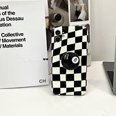 韓國ins復古棋盤格黑8支架蘋果手機殼iphone12/11Promax/Xr/78Plus/Xsmax防摔保護套